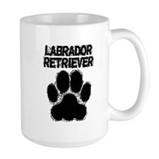 Labrador Retriever Distressed Paw Print Mugs