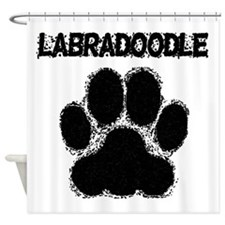 Labradoodle Distressed Paw Print Shower Curtain