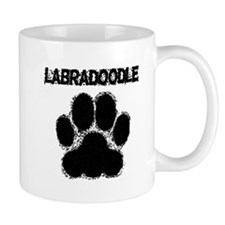Labradoodle Distressed Paw Print Mugs