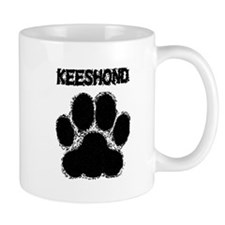 Keeshond Distressed Paw Print Mugs