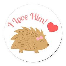 Cute Female Hedgehog, I Love Him Round Car Magnet