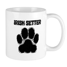 Irish Setter Distressed Paw Print Mugs