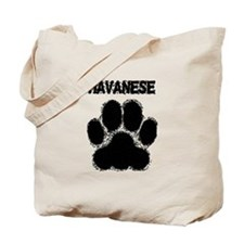 Havanese Distressed Paw Print Tote Bag