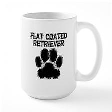 Flat-Coated Retriever Distressed Paw Print Mugs