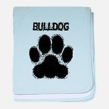 Bulldog Distressed Paw Print baby blanket