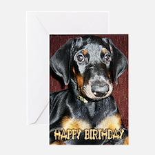 Doberman Pinscher Puppy Birthday Greeting Card