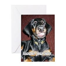 Birthday Smiling Doberman Puppy Greeting Card