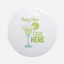 Happy Hour Starts HERE Ornament (Round)