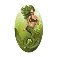 Green Mermaid Oval Car Magnet