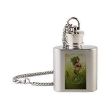 Green Mermaid Flask Necklace