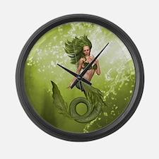 Green Mermaid Large Wall Clock