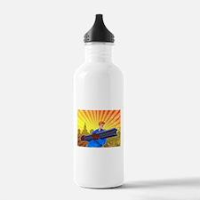 Steel Worker Carry I-Beam Retro Poster Water Bottl