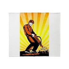 Construction Worker Jackhammer Retro Poster Throw