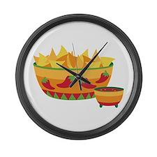 Tortilla chips salsa Large Wall Clock