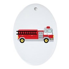 Fire Truck Ornament (Oval)