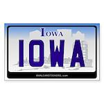 Iowa Licanse Plate Rectangle Sticker