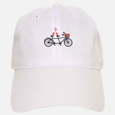 tandem bicycle with cute love birds Baseball Baseball Baseball Cap