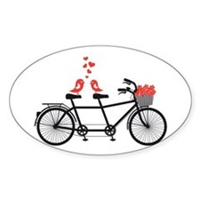 tandem bicycle with cute love birds Decal