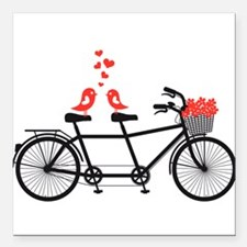 tandem bicycle with cute love birds Square Car Mag