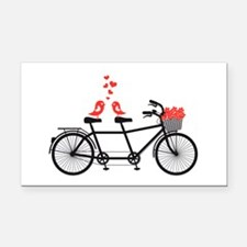 tandem bicycle with cute love birds Rectangle Car