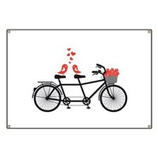 tandem bicycle with cute love birds Banner
