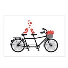 tandem bicycle with cute love birds Postcards (Pac