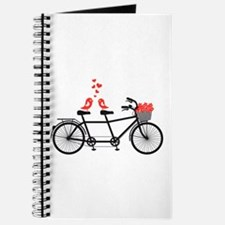 tandem bicycle with cute love birds Journal