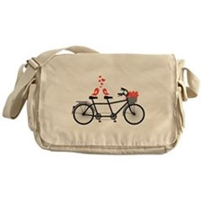 tandem bicycle with cute love birds Messenger Bag