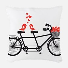 tandem bicycle with cute love birds Woven Throw Pi