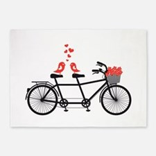 tandem bicycle with cute love birds 5'x7'Area Rug