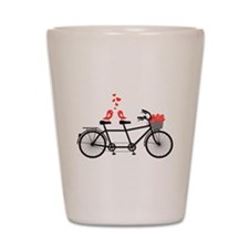 tandem bicycle with cute love birds Shot Glass