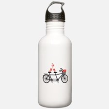 tandem bicycle with cute love birds Water Bottle