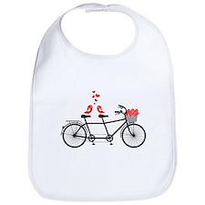 tandem bicycle with cute love birds Bib