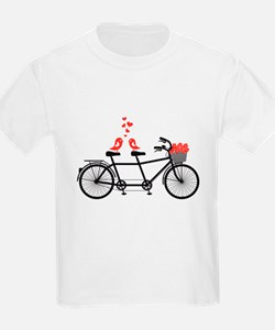 tandem bicycle with cute love birds T-Shirt