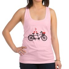 tandem bicycle with cute love birds Racerback Tank