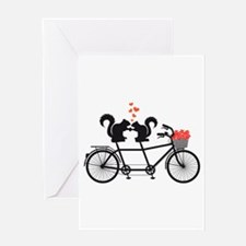 tandem bicycle with squirrels Greeting Cards