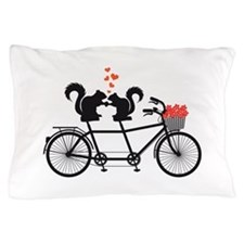 tandem bicycle with squirrels Pillow Case