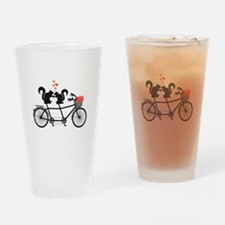 tandem bicycle with squirrels Drinking Glass