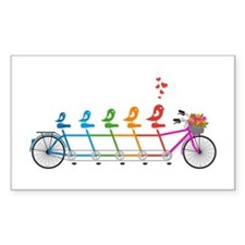 tandem bicycle with cute birds family Decal
