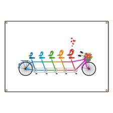 tandem bicycle with cute birds family Banner