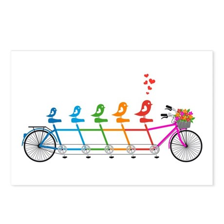 tandem bicycle with cute birds family Postcards (P