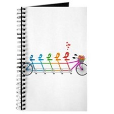 tandem bicycle with cute birds family Journal