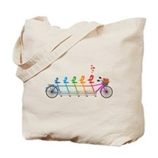 tandem bicycle with cute birds family Tote Bag