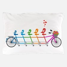 tandem bicycle with cute birds family Pillow Case