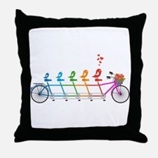 tandem bicycle with cute birds family Throw Pillow