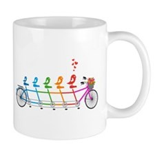 tandem bicycle with cute birds family Mugs