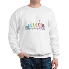 tandem bicycle with cute birds family Sweatshirt
