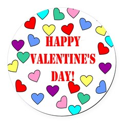 Valentines Day Hearts Round Car Magnet