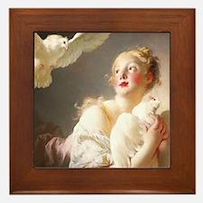 Fragonard Girl with Dove Framed Tile