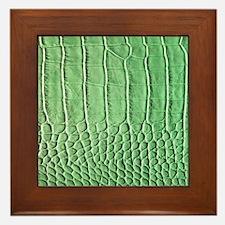 Faux Green crocodile skin pattern Framed Tile